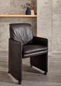 Petit fauteuil design EAT.LOUNGE sur roulettes cuir ou tissu