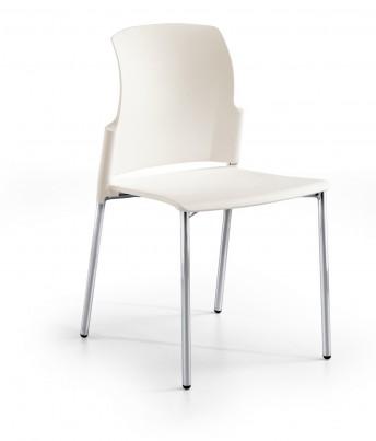 Chaise 4 pieds empilable de collectivité JAKE 100 coque de couleur, lot de 2