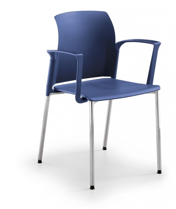 Chaise 4 pieds empilable de réunion JAKE 105 coque de couleur avec accoudoirs, lot de 2