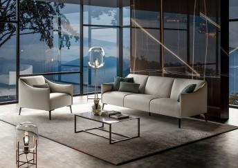 Grand canapé compact 3 places DIXIE.MISS en cuir ou tissu