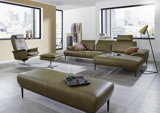 Canapé 3,5 places d'angle avec chaise-longue & dossiers réglables MAJOR