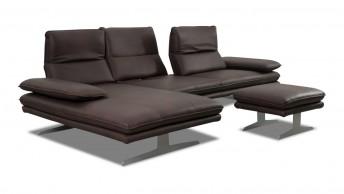 ALWIN.C canapé d'angle 3,5 places chaise longue, assises réglables, appuies-tête multi-positions tissu ou cuir