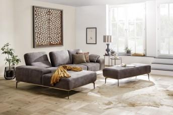Canapé angle design LITTLE.PRINCE cuir et bois de chêne, dossier réglable, ou tissu au choix, 3,5 places