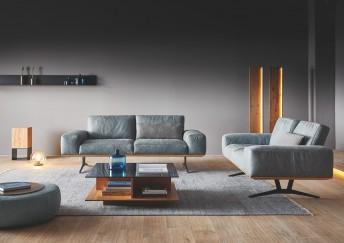 Canapé 3 places design en cuir ou tissu HONNORE.PM dossiers différentes positions