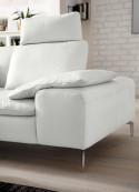 Canapé d'angle 6 places ADMIRAL.B avec 2 accoudoirs, double profondeur cuir ou tissu