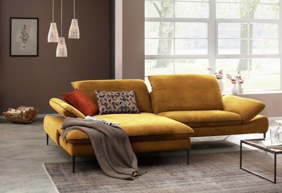Canapé angle DEEP&LOUNGE tissu ou cuir chaise longue large 3 places