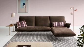 Canapé d'angle 3 places FELT.TONES chaise longue cuir ou tissu