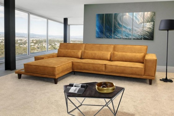 Canapé angle 3,5 places SQUARE.T avec chaise longue cuir ou tissu & tablette