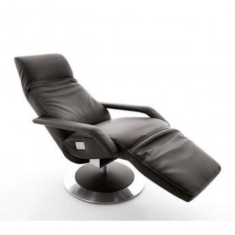 Fauteuil RUN pivotant relaxation électrique filaire en cuir