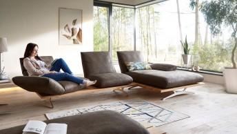 Canapé angle contemporain design 3 places HYPEnKEYS avec chaise longue, assises indépendantes-pivotantes