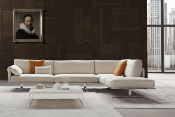 ALLAN.K, canapé d'angle design cuir ou tissu & plumes contemporain