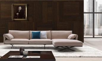 Canapé d'angle cuir 3 places avec chaise longue ALLAN.K