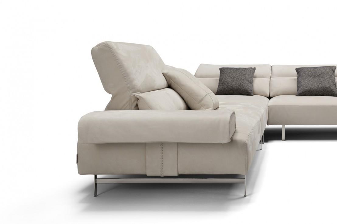 Superbe minimaliste canapé angle cuir nubuck de daim et ...