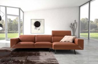 Canapé angle design en cuir avec appuis-tête JOHN.JONES 3 places