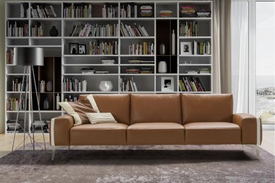 Canapé 3 grandes places en cuir HANNES.B, confort duvet d'oie