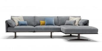Canapé cuir d'angle avec chaise longue 3 places RAHMAN.DK
