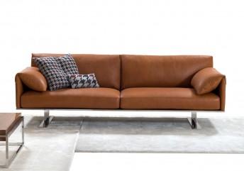 Canapé cuir design contemporain compact plumes RAHMAN.DK 3 places