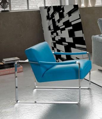 Petit fauteuil cubique RON3 en cuir, tissu ou nubuck : design & chrome