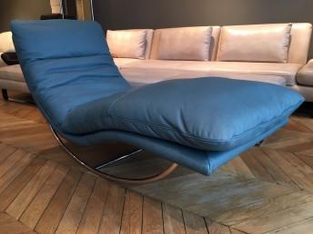 Chaise longue de relaxation ROCKYOU en cuir pleine fleur Deluxe 2 Vintage bleu canard