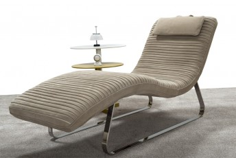 DOLCE&I, chaise longue design en cuir, tissu ou nubuck Daim
