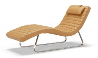 Chaise longue relax design en cuir ou nubuck de daim ou tissu DOLCE&ME