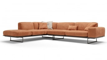 Canapé cuir d'angle SUGAR.BL, minimaliste & confortable