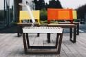 Banc, banquette éléments modulables BARKA en bois massif, acier et batyline
