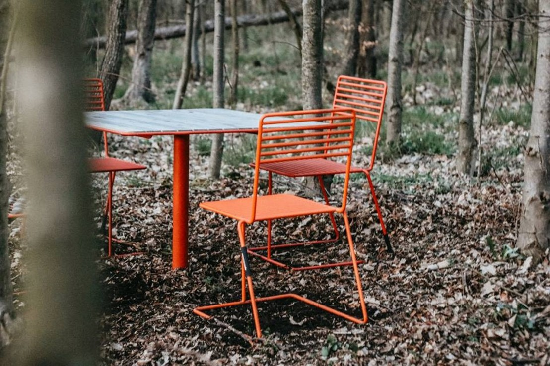 Ensemble de jardin table carrée & 4 chaises bois et métal TINA EGOE