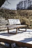 Ensemble lounge, table basse rectangulaire SENA plateau HPL, banquette 2 places et fauteuil BARKA
