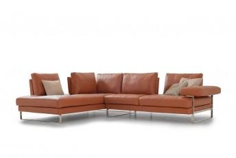 Canapé angle en cuir YOUTH&SMART profondeur d'assise réglage électrique