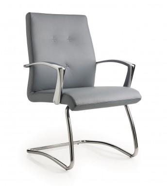 Chaise cuir ou tissu visiteur ONE dossier bas avec accoudoirs