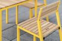 Salon de jardin CORA, table carrée et 4 chaises, aluminium de couleur et bois massif