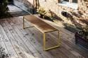 Ensemble de repas extérieur BISTROT, table rectangulaire et 2 bancs en bois massif et acier de couleur