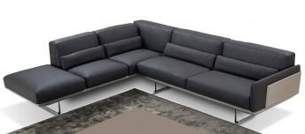 Canapé cuir d'angle 5 places RALPH.LEWIS, bicolore