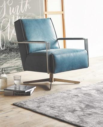 Fauteuil design cuir pied pivotant MR.DEE