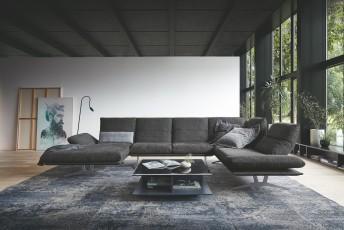 Grand canapé design d'angle 6 places AD.SENSO en U cuir ou tissu