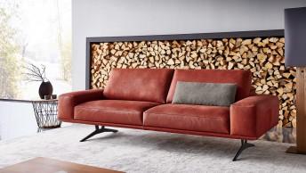 Canapé CHARLES.BROWN cuir design profondeur assise réglable dossiers réglables