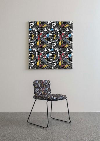 Chaise CLUSTER par 2, pieds luge, cuir pleine fleur ou tissu, dossier bas