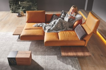Canapé d'angle IDOLATION doubles assises pivotantes 3 placeses