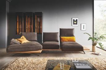 Canapé 3 places angle chaise longue pivotante et assises pivotantes IDOLATION
