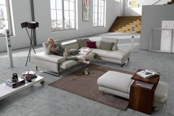 Canapé angle cuir DreamLINE, 4,5 places,assises motorisées