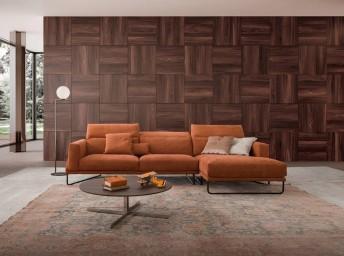 Canapé d'angle design en cuir ou nubuck Daim ou tissu 4 places JAY.JUNE