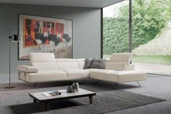 Canapé d'angle cuir BRILLANT*STAR base bois version 5 places Ottomane