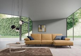 Canapé d'angle BRILLANT*STAR 3 places chaise longue en cuir