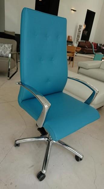 Fauteuil de direction dossier haut ergonomique ONE cuir pleine fleur bleu