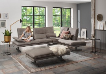 ALWIN.C canapé angle en cuir design 5 places retour Ottomane