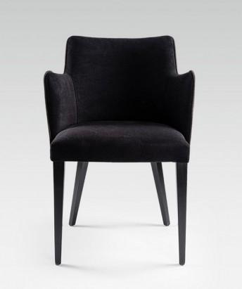 Chaises avec accoudoirs petits fauteuils de table velours KENDAL par 4