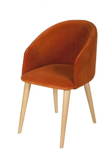 Petits fauteuils de table DURHAM arrondis par 4 tapissés