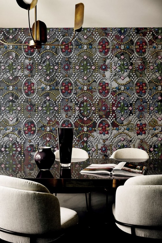 FLOWERS & DIAMONDS tapisserie murale LONDONART