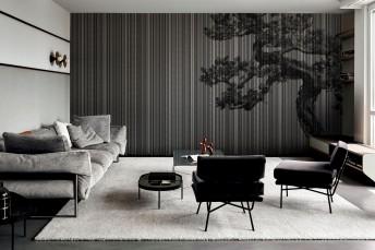 Papier peint contemporain noir motif arbre PLAGUE LONDONART